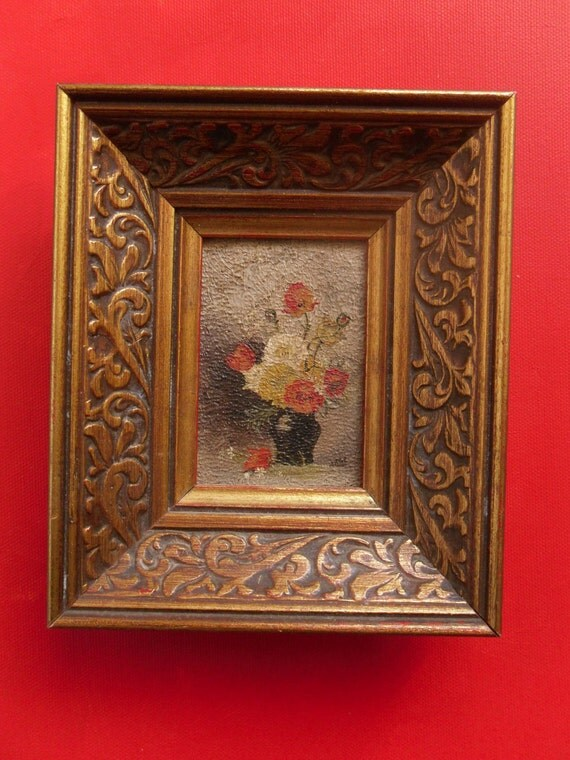 Tiny Vintage Floral Oil Painting in Fancy Frame