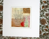 """4x4  Encaustic Beeswax collage-OOAK Mixed Media Paper collage """"Mystery of the Fingertips"""" -Ready to frame"""