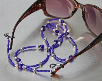 Handmade Royal Blue Seed Bead and Crystal Eyeglass Chain, Custom Made Jewelry, Made to Order Jewelry,
