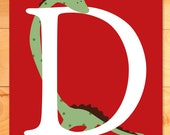 Childrens Wall Art, Nursery Decor, D is for Dinosaur is for Custom Letter and Name, Personalized art print