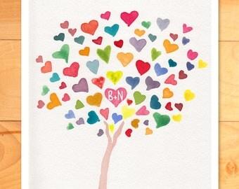 Wedding Wall Art, Personalized Nursery Wall Art, Childrens Decor, Rainbow Hearts, Initials on Tree - Custom Art Print of Original Watercolor
