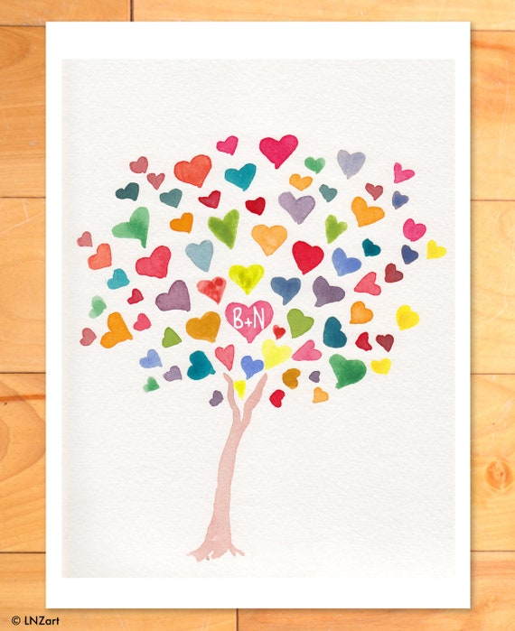 Wedding Wall Art, Personalized Nursery Wall Art, Childrens Decor, Rainbow Hearts, Initials on Tree - Custom Art Print of Original Watercolor