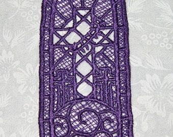 Lace machine embroidered Cross Bookmark, lavender
