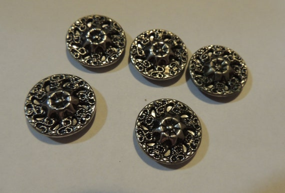 Vintage Set 5 Sewing Buttons with Metal Openwork