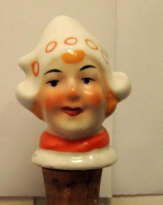 Vintage Cork Bottle Stopper Dutch Holland Girl pours through Figural head