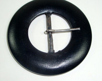 Vintage Black Belt Buckle, Sewing Notion  (8509)