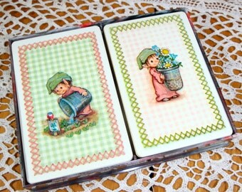 2 Vintage Decks Hallmark Playing Cards, Game Cards, Double Boxed Set, Green Checks  (380-13)