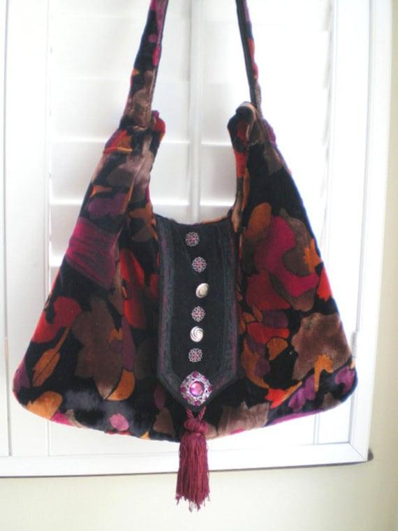 20% OFF, Gypsy Hobo purse, boho, vintage velvet, slouch bag, tote, hip bag, gypsy, burgandy, red, black
