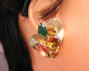 Vintage Rhinestone Earrings in Autumn Colors J19