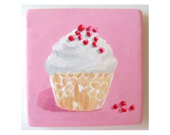 Refrigerator Magnet * CUPCAKE * Hand Painted by Rodriguez