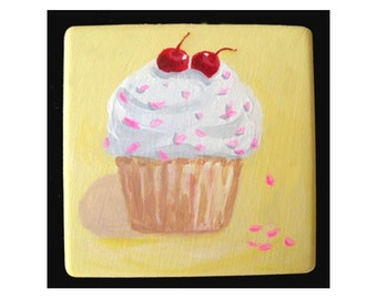 Refrigerator Magnet * CUPCAKE WITH CHERRIES * Hand Painted by Rodriguez