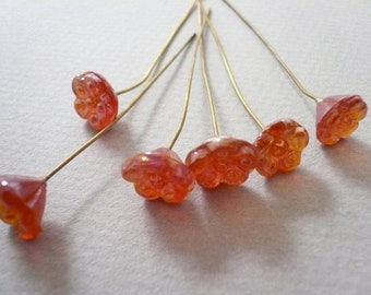 Vintage Pumpkin  Pressed Glass Flower on Wires (6)