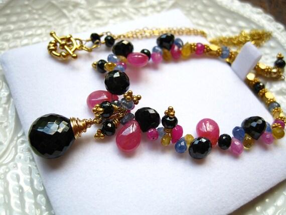 Reserved for Kristen-Black spinel, Sapphire, Gemstone Necklace-Geisha II