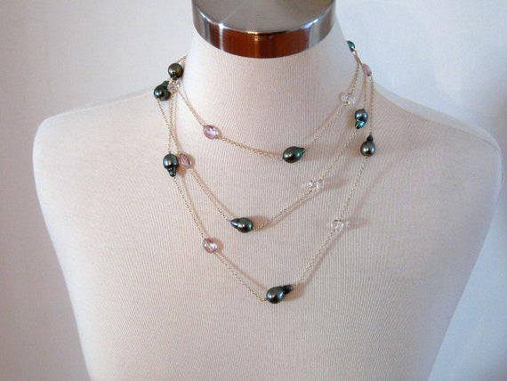 Tahitian Pearl, Crystal Quartz, Pink Amethyst layering necklace-Shimmer-Reserved