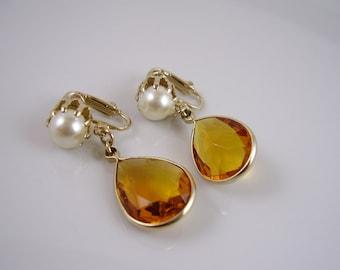 Vintage Amber Glass and Pearl Earrings, Elegant Teardrop Amber Glass and Pearl Drop Earrings, 70's Topaz and Pearl Drop Earrings, Clip On