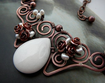 Chocolate & Vanilla filigree choker  -  copper, white jade, freshwater pearls