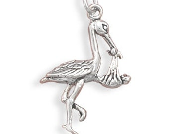 Stork With Baby Charm, Birth Celebration, Newborn, Baby Shower Gift, Celebrate Birth, Baby, Keepsake Charm, Collectible Charm, Gift Charm