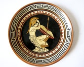 Vintage Greek Copper Plate - Hand Painted - Ancient Greece Wall Hanging