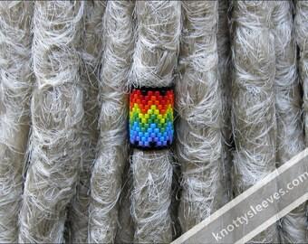 Dreadlock Bead, Dread Cuff, Dread Sleeve, Hair Bead, Peyote Stitch Sleeve, Under the Rainbow