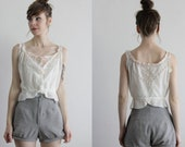 RESERVED . Antique Lace Blouse . Eyelet Top . Ribbon Tie . 1910s