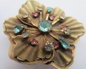 Very vintage antique gold floral with pastel rhinestones brooch/ embellishment, estate sale find.(lot 2446)