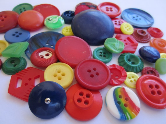 Vintage Buttons - Cottage chic mix of fun brights, old and sweet - 43 total (2123)