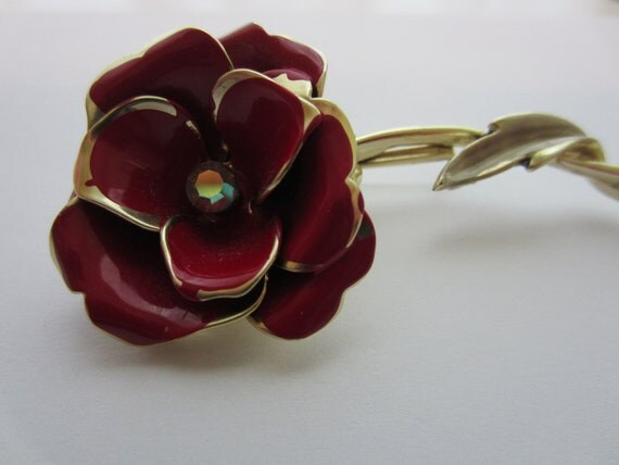 Vintage  flower brooch- CORO SIGNED Red Enamel and Goldtone Rose With AB/Rhinestone( lot no 2143)  .