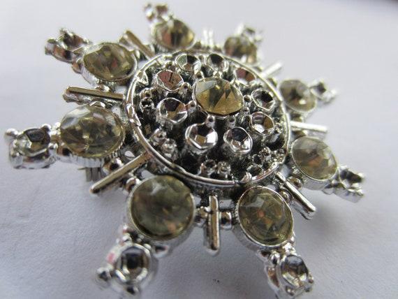 vintage brooch large silver metal with rhinestones, estate sale find.(lot 2279)