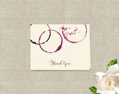 Thank You Note Cards - Wine Glass Stains Theme