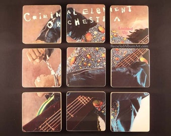 CRIMINAL ELEMENTS ORCHESTRA recycled album cover coasters with wacky vinyl bowl