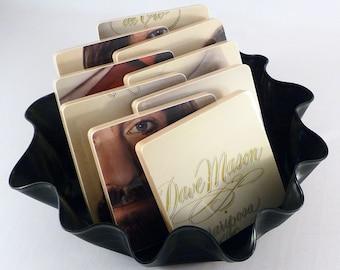 Dave Mason recycled Mariposa de Oro album art coasters with wacky vinyl bowl