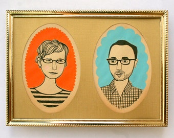 Vintage Style Couple Portrait  (please read 'Item Details' section before purchase)