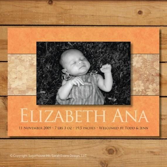 Fall Baby Girl Announcement Cards -  Autumn Orange