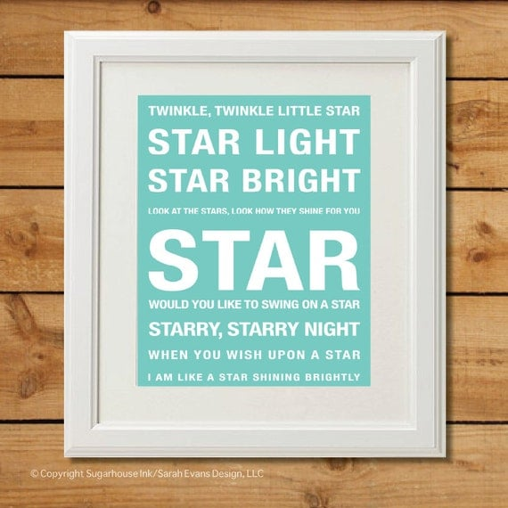 Stars Nursery Rhyme Subway Art - Digital Art Print - Nursery Art