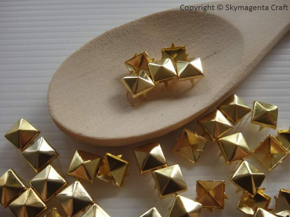50 pieces Pyramid Studs Rivets, Gold Color, 8 mm  (00802)