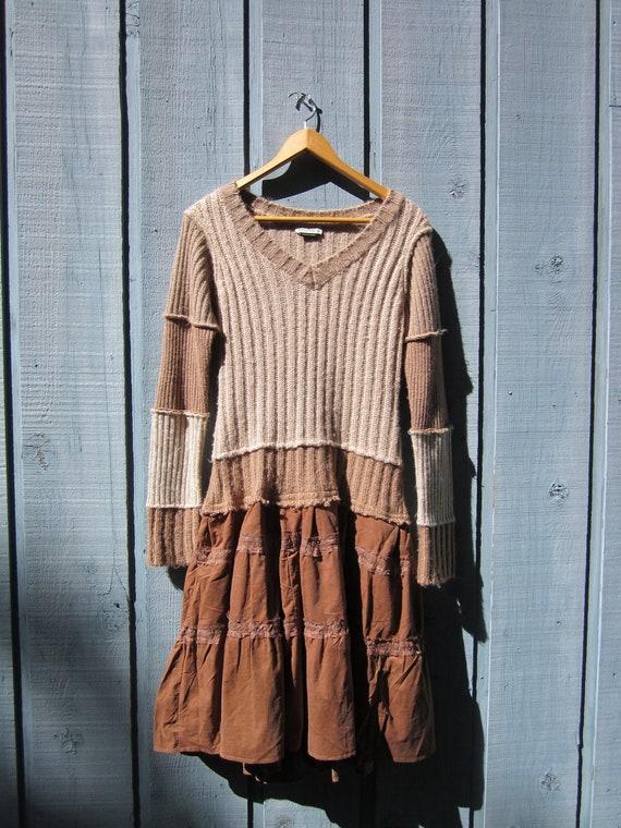 Medium Upcycled Corduroy and Knit Dress // Bohemian Dress // Fall Winter // Urban Chic