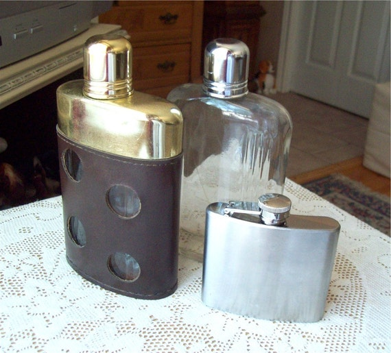 Three Hip Flasks Brown Leather Swank Stainless Steel and Glass