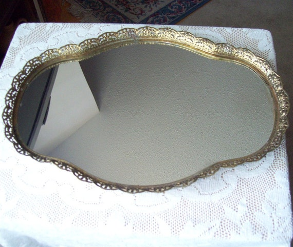 Large Vanity Mirror Tray Gold Filigree Perfume Makeup Wide Irregular Oval Shape Peanut Wall Hanging