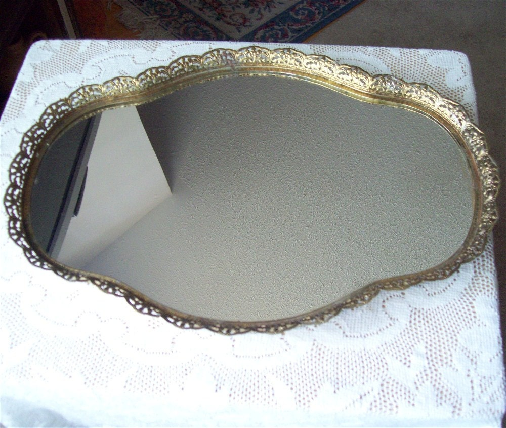 Large Vanity Mirror Tray Gold Filigree Perfume Makeup Wide
