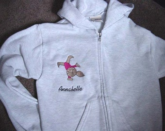 Personalized Girls Gymnastics Gymanst Dance Sweatshirt  Zip up  Hoodie Hoody Toddler Embroidered