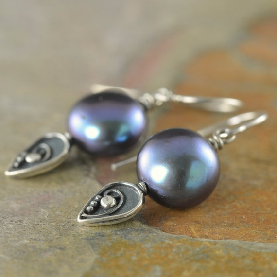Peacock freshwater pearl earrings with leaf sterling silver accents