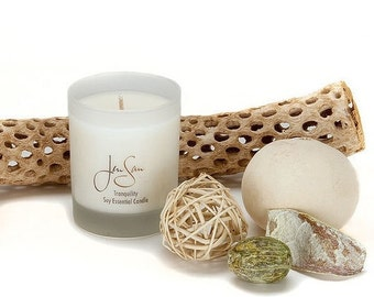 Tranquility Aromatherapy  Soy Candle with Essential Oils,  eco friendly, small 8 oz (227 grams)