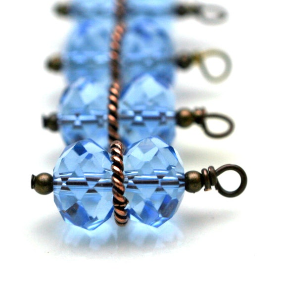 Bead Drop Dangle Charm Set in Blue and Copper- 4 Pieces