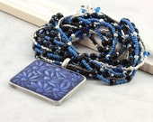 Black and Blue Multistrand Necklace Cobalt Blue Flower Pendant Royal Blue Jewelry Black Beadwork Necklace Silver Bead Jewelry Winter Fashion