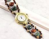 Beaded Watch Bracelet Crystal Rustic Jasper Autumn Colors Gemstone Watch Band Brown Green Bracelet Watch