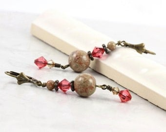Autumn Jasper Earrings Pink Honeysuckle Spring Fashion Gemstone Jewelry Mothers Day Jewelry