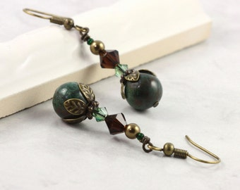 African Jade Mocha Brown Earrings Crystal Woodland Green Brown Jewelry Winter Fashion Boho Jewelry Bohemian Earrings