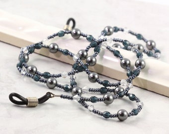 Gray Eyeglass Lanyard Office Blue Beaded Lanyard Fashion Accessory Crystal Pearl Eyeglass Holder Sunglass Lanyard Pewter Eyeglass Necklace