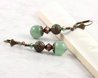 Aventurine Earrings Pale Green Earrings Mocha Brown Crystal Earrings Mediterranean Style Bohemian Jewelry Southwest Earrings Summer Fashion