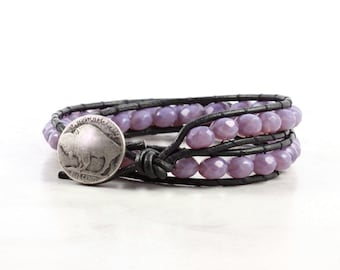 Leather Wrap Bracelet Black Lavender Purple Western Style Double Wrap Buffalo Nickel